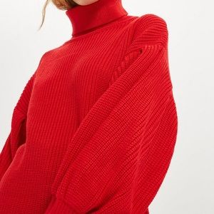 Topshop balloon sleeve roll neck red jumper